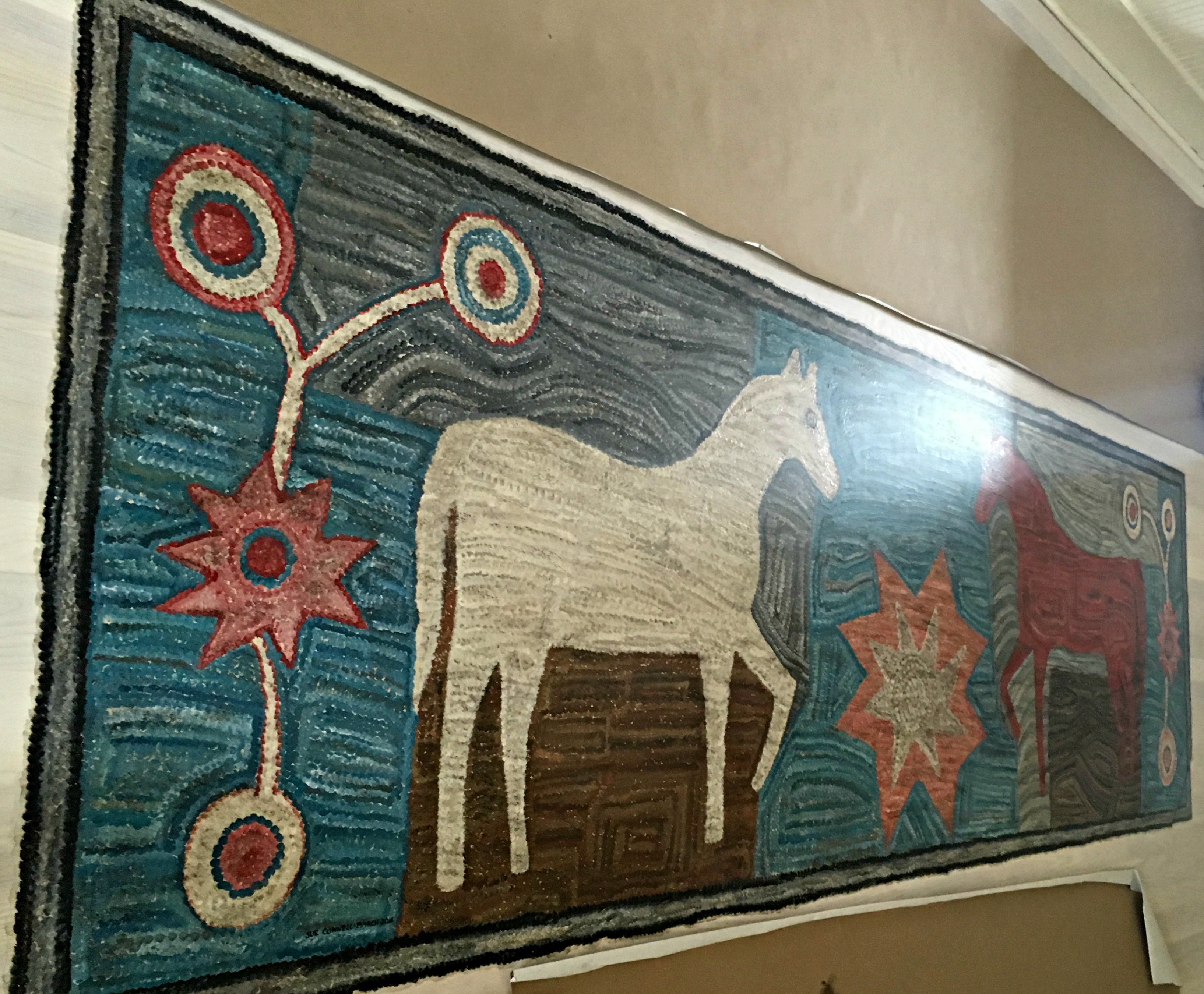 painted hooked rug