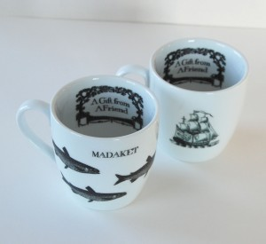 Fall series 04a- historic transferware pair of mugs