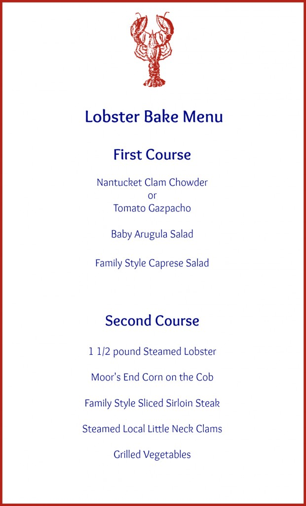 LOB LobsterBake Menu